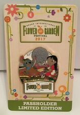 Disney Pin Epcot Flower And Garden Festival 2017 Annual Pass Lilo And Stitch LE