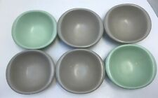 6 Vintage Boonton Ware Belle Melmac Cereal Soup Bowls #1307-12 Gray Mint Green