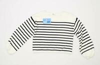 H&M Womens Size 8 Striped Cotton White Jumper (Regular)