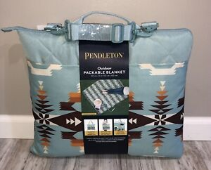 """Pendleton Outdoor Packable Picnic Beach Camping Blanket Avra Teal 60""""x72"""" NEW"""