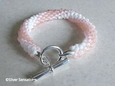 Pastel Pink & White Stripe Unique Kumihimo Seed Bead Fashion Bracelet Gift