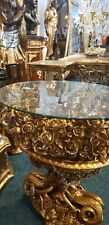 TABLE BAROQUE STYLE COFFEE TABLE GOLD FLOWERS WITH GLASS TOP  #MB40