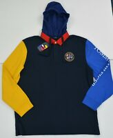NWT Men's Tommy Hilfiger Long-Sleeve Rugby Polo Shirt w Hoodie