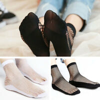 2 Pairs Women Glitter Bow Knot Mesh Fishnet Net Girl Low Cut Ankle Socks Hosiery