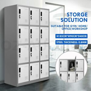 12 Doors Locker Cabinet Steel Storage Cabinet Cupboard Home Office Metal Cabinet