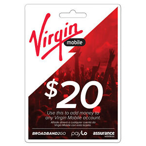 VIRGIN MOBILE,  $20 Prepaid Phone Card Refilled directly to your mobile number