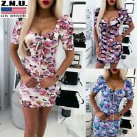 Sexy Women's Floral Low Cut Bodycon Mini Dress Party Clubwear Backless Dresses