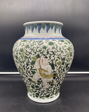 Antique Chinese Blue and Famille Verte Zun Vase