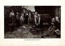Fritz von Uhde, München Der Leiermann kommt nach einem Gemälde Histor.Druck 1905