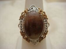 MOSS AGATE RING STERLING SILVER 925 GF FILIGREE DUAL COLOR VINTAGE ANTIQUE
