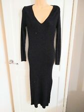 BNWT River Island Sparkly Black Long Knitted Cocktail Dress Size 12 Split Leg