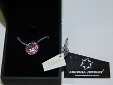 925 Sterling Czech Bohemia Swarovski Element Pink Pave Shamballa Ball Necklace