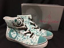 Baby Phat Mist Blue Cat BP Logo Canvas High Top Athletic Shoes sz 8.5/40