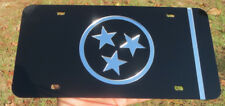 Tennessee State Flag Black and Mirror License Plate Laser Cut Acrylic