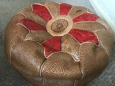 Genuine Leather Pouffe Moroccan Poufe Handmade New Footstool Berber Design Red