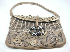 Valentino Garavane 100% Authentic Leather Bag flower pearl black beads crytals