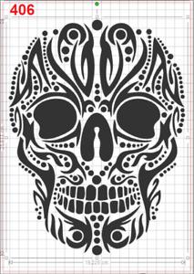 Large Beautiful Skull Stencil MYLAR A4 sheet strong reusable Art Craft WALL DECO