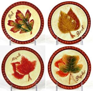 "MWW Market FALLING LEAVES 4.5"" Mini Plate Set 4Pc Colors Of Fall Autumn Leaf MIB"