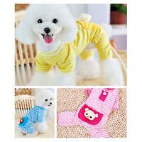 Small Pet Dog Stripes Pajamas Coat Cat Puppy Cozy Clothes Apparel Clothing XS-XL