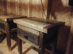2 Rustic Farmhouse style end tables with authentic barnwood and wormy chesnut