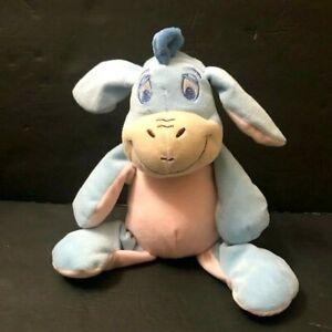 Disney Baby Pastel Blue Purple Eeyore Plush Stuffed Animal Rattle Crinkle Ears