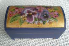 French Decoupage Wooden Trunk with Pansies
