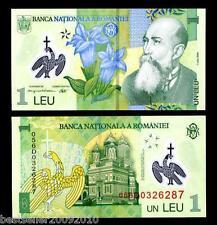 ROMANIA 1 LEU POLYMER BEAUTIFUL NOTE UNC  # 184