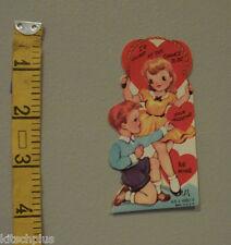 Vtg Valentine Card Redhead Boy Girl Jump Rope Classic Toy 40's Unused