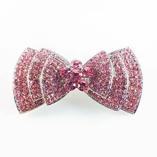 USA BARRETTE Rhinestone Crystal Hairpin Clip Vintage Elegant Bow Cute PINK