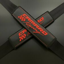 Black seat belt covers pads Red embroidery Fits Chevrolet Camaro Racing 2PCS