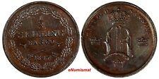 Sweden Oscar I Copper 1847 1/3 Skilling Mintage-783,000 UNC  Toned KM# 657