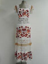 "Beautiful white, lace & embroidered dress new by For Love & Lemons M 34""B UK10"