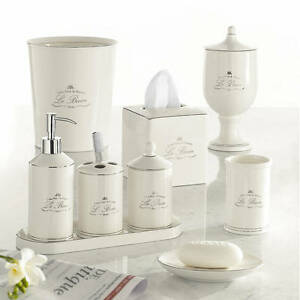 Kassatex Paris French Le Bain 9pc Complete Bath Accessory Set Glazed  Porcelain