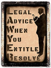 LAWYER METAL sign law ATTORNEY paralegal VINTAGE OFFICE wall decor RETRO art 187