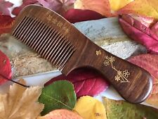 Handcrafted  Curupay Comb; Short Handle, All Natural, Gold Floral Engraved