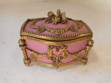 Antique French Palais Royal Gilt Mounted Jewel Casket Box Cherub  ref A3/msx771