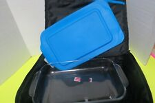 """Pyrex Portables Blue Insulated Travel Bag W/ 12"""" x 8"""" Glass Dish And Cover"""