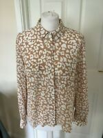 NEW Nude/White Leopard Pattern Long Sleeve Blouse Top (Size 6,8,10,14,16 )