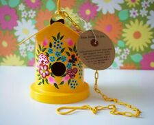 Nkuku Yellow Floral Hand Painted Metal Fair Trade Birdhouse BNWT