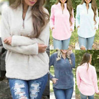 Women Warm Blouse Jumper Tops Long Sleeve Zip Loose Ladies Sweater Blouse Tops``