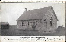1909 Antique First Free Baptist Church Fremont Michigan Postcard Stone Building