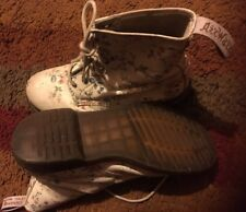 DR MARTENS FLORAL WHITE FLOWER PRINT LACE UP BOOTS REAL LEATHER UK SIZE 5 38