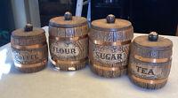 Vintage 4 Piece Treasure Craft Barrel Canister Set 1970s
