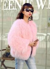 Women Real Wool Fur Women Coat Jacket Overcoat Garment Short Coat Outwear Pink L