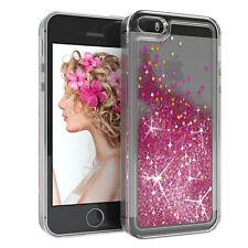 Für Apple iPhone 5 5S SE Glitzer Hülle Flüssig Silikon Case Handy Cover Pink