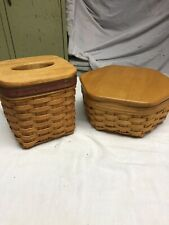 Longaberger Tissue Basket And Six Sided With Lid