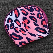 """MODELS PREFER """"Hot Pink"""" Small Leopard Print Make-up Pouch Cosmetics Carry Bag"""