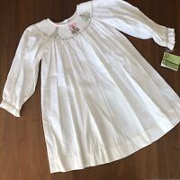 NWT Zuccini Ivory Toddler Corduroy Gown/Dress Embroidered Christmas Trees