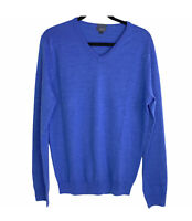 J Crew Men's Merino Wool V Neck Sweater Long Sleeve Pullover Top Blue Medium