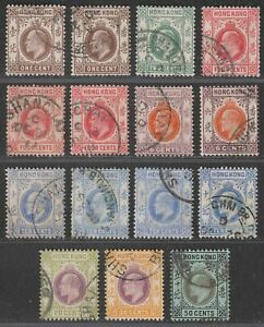 Hong Kong 1907 KEVII Short Set to 50c Used SG91-98 with SHANGHAI Postmarks